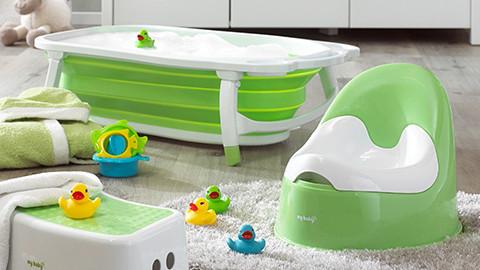Babywanne und Babytöpfchen grün weiß