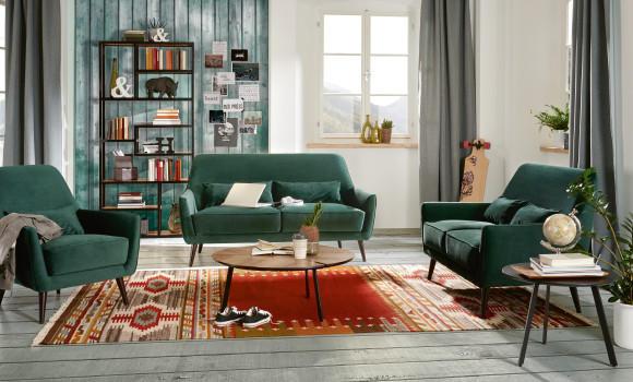 Grüne Samt Couch 3 teilig