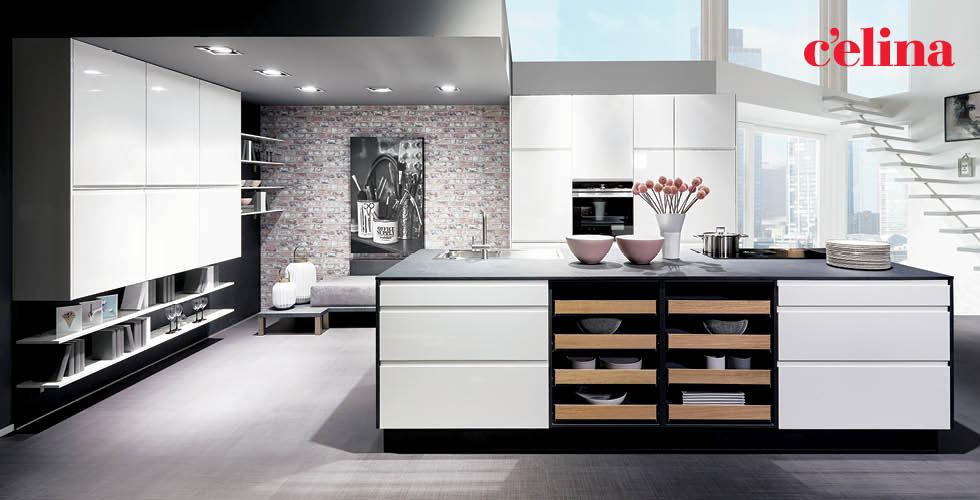 Bijelo crna kuhinja  Celina u Lesnini