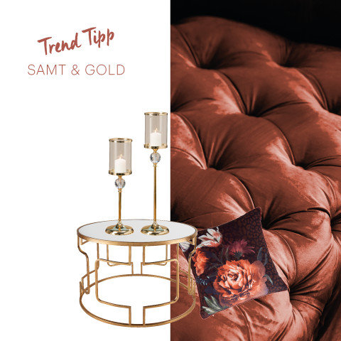Trend Tipp Samt Gold Rot Gold