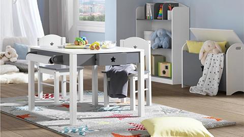 Kindersessel und Kindertisch weiß grau