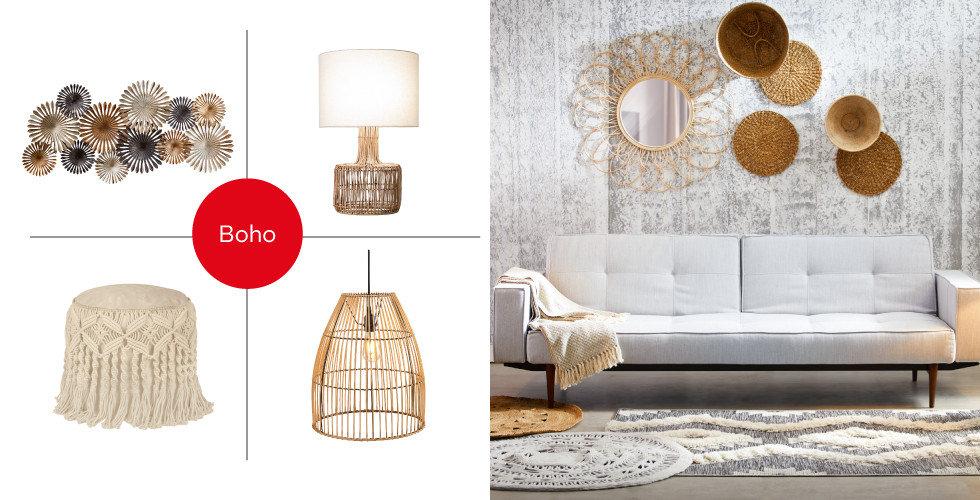 Shop the Style Boho freundlich hell Wohnzimmer Couch Grau