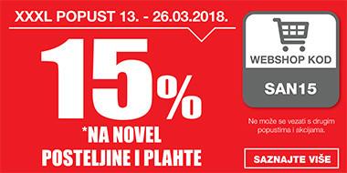 15% na Novel posteljine i plahte