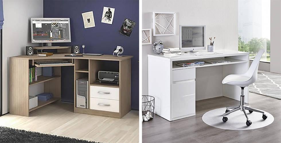 Bijeli i drveni uredski stolovi u Lesnini