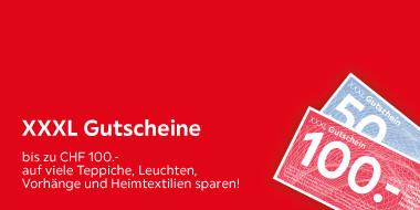 XXXL Gutscheine  bis zu CHF 100.-  auf viele Teppichen, Leuchten, Vorhänge und Heimtextilien sparen