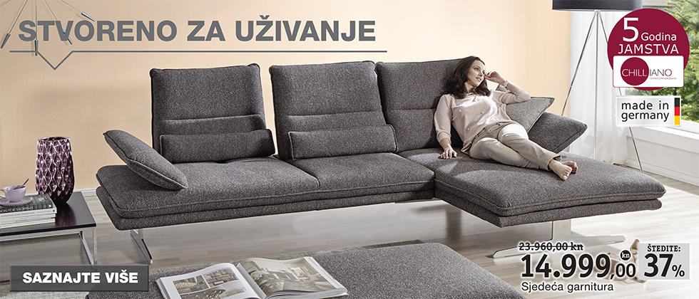 Moderna i udobna siva sjedeća garnitura Lesnina XXXL