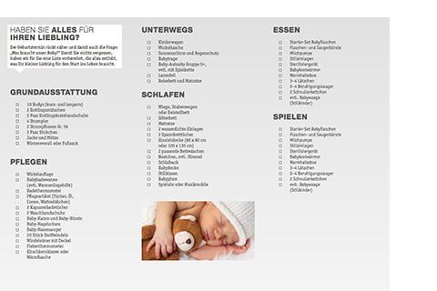 Checkliste Babyausstattung