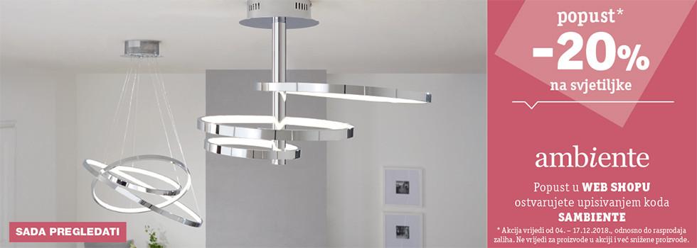 20% popusta na svjetiljke robne marke Ambiente XXXL Lesnina