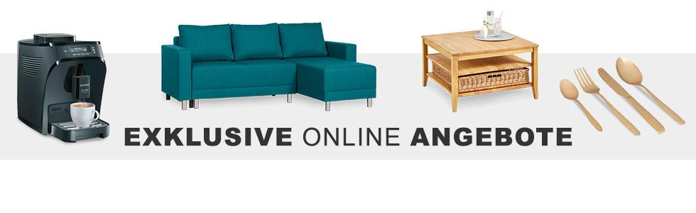 Kaffeemaschine, Petrolfarbenes Sofa und goldfarbenes Besteck online kaufen