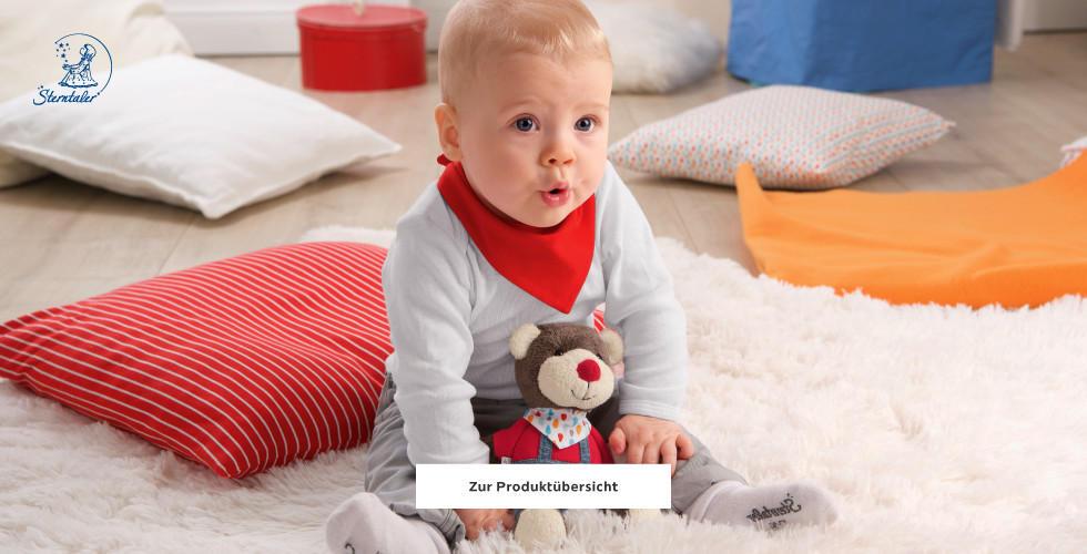 Sterntaler Baby Rot Grau Stofftier