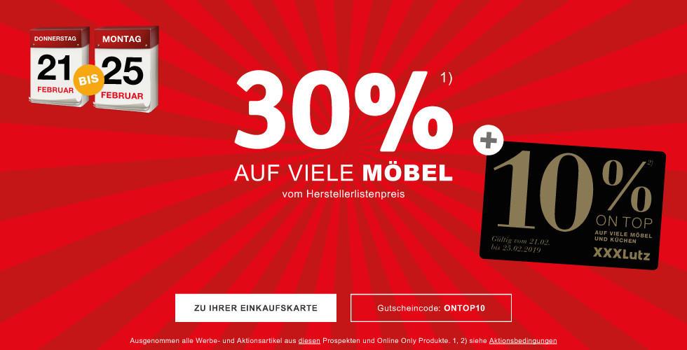 30% auf viele Möbel vom Herstellerlistenpreis + 10% ONTOP