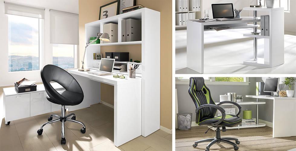 Bijeli uredski stolovi i crne stolice