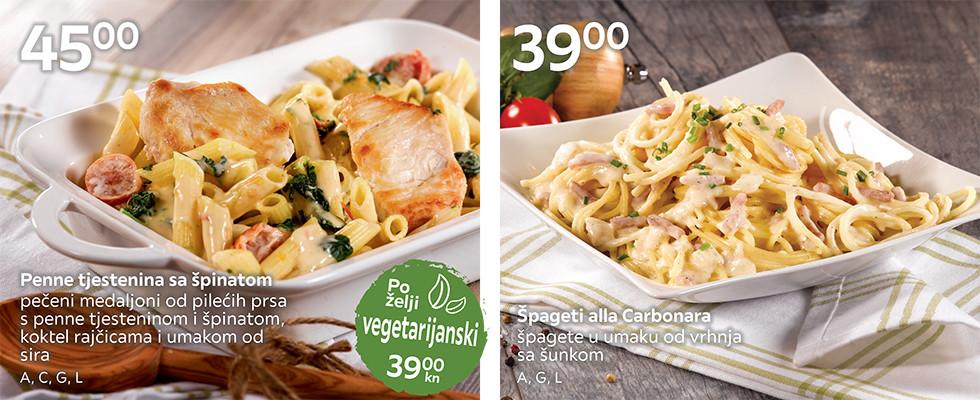 Penne sa špinatom i piletinom i špageti alla Carbonara