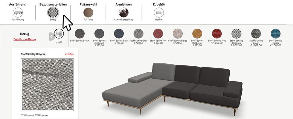 Bezugsmaterialien des Sofas auswählen