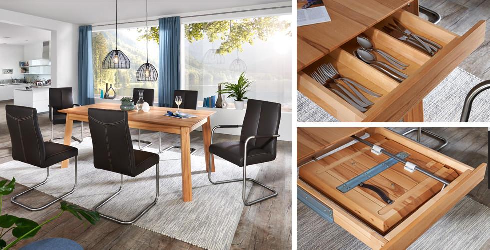 Přírodní jídelní stůl dřevěné desky Linea Natura