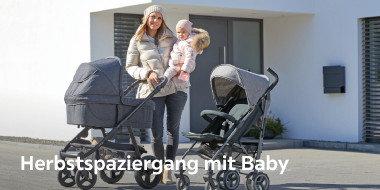 Herbstspaziergang Baby Kinderwagen grau