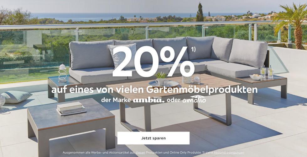 20% auf eines von vielen Gartenmöbelprodukten  der Marke Ambia oder Amatio