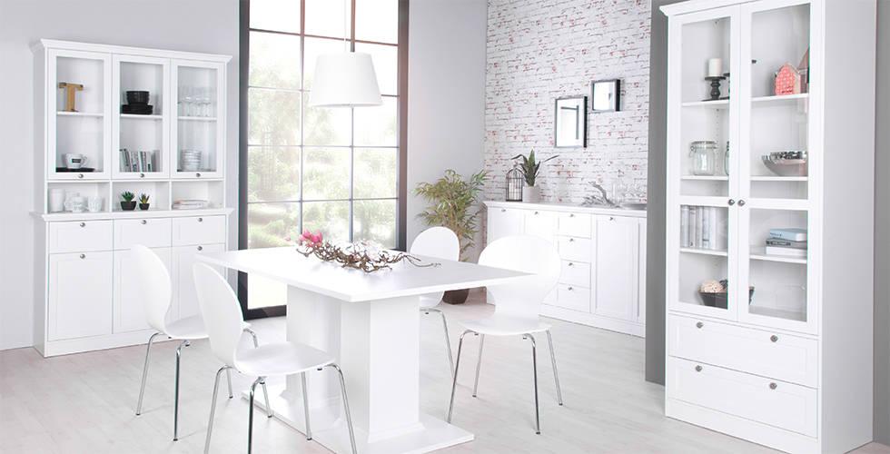 elegantan bijeli namještaj blagovaonica