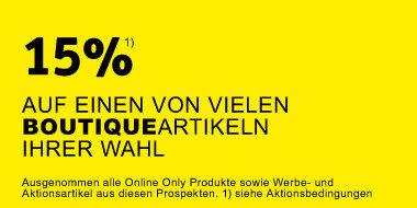 15% auf einen von vielen Boutiqueartikel Ihrer Wahl