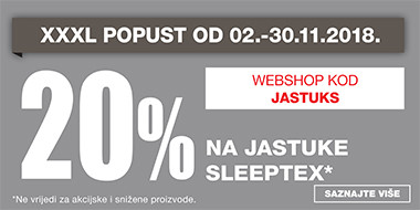 20% popusta na jastuke Sleeptex