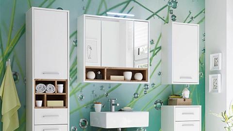 Koupelnové zrcadlo s úložným prostorem a integrovaným osvětlením