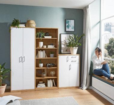 Schranksystem Wohnzimmer weiß