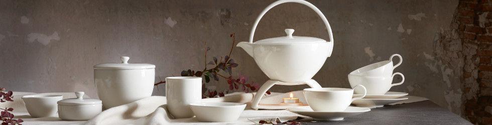 Tea-Time Tee Teegeschirr Weiß Porzelan