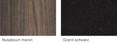 Set One by Musterring Korsika Arbeitsplatten Nussbaum maron Granit schwarz