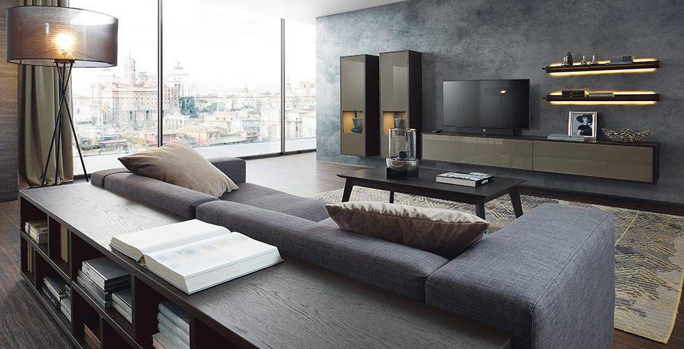 AuBergewohnlich Wohnwand Modern Dunkel