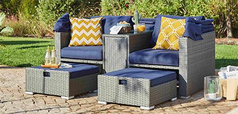 pletene vrtne fotelje za dvoje