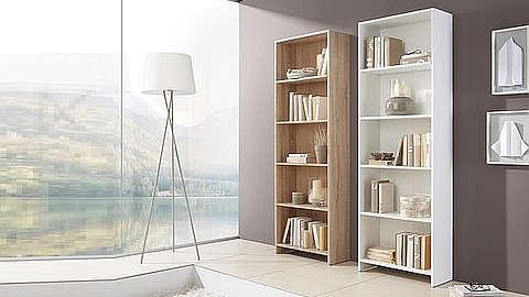 Police za knjige u bijeloj i boji drveta
