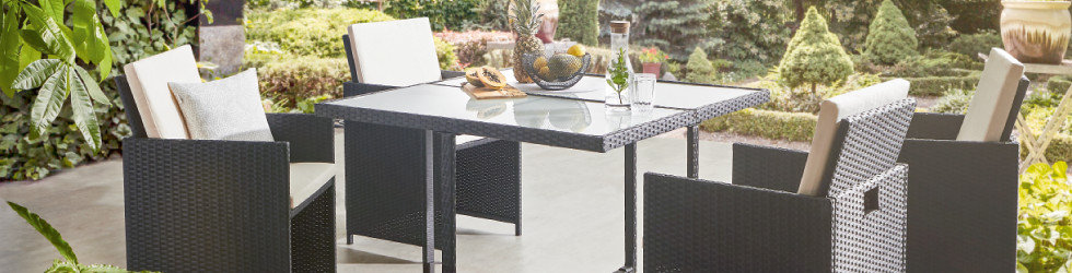 Online Only Garten Gartenmöbel Tisch Stühle Braun Weiß