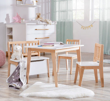 Tischgruppe für Kinder in weiß und holzfarben