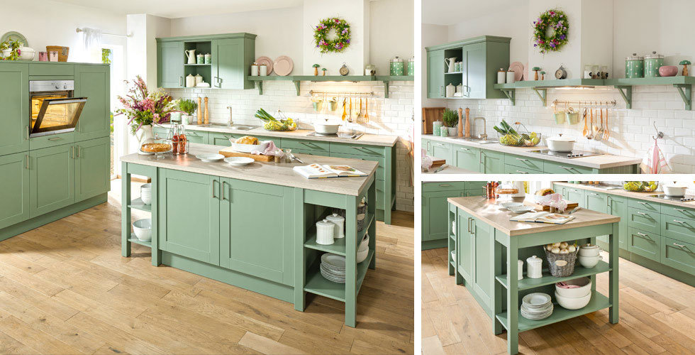 Landhausküche Kochinsel grün