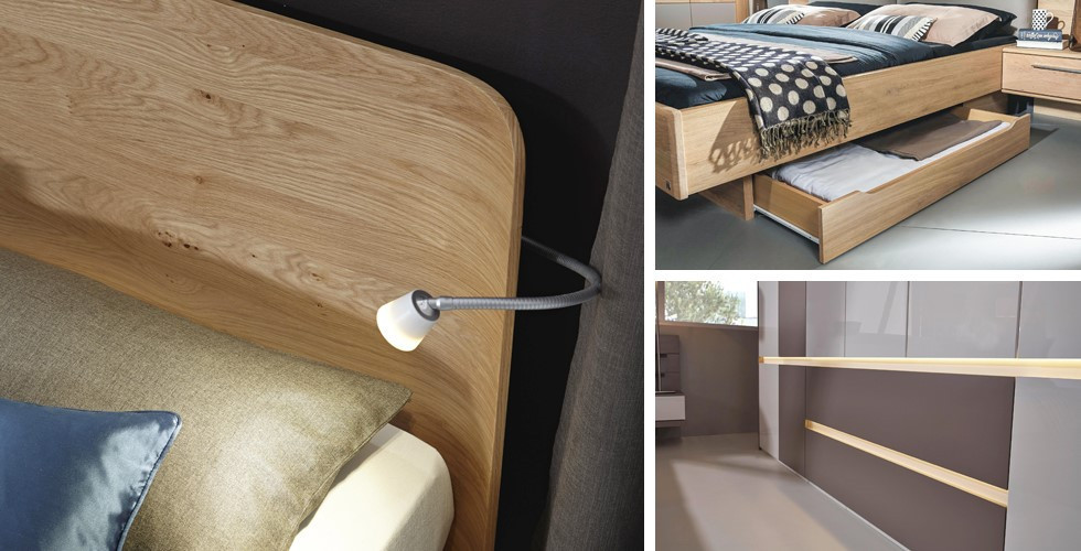 Statten Sie Ihr komplettes Schlafzimmer von XXXLutz mit Zusatzfeatures wie einer Leselampe oder einer Schrankbeleuchtung aus.