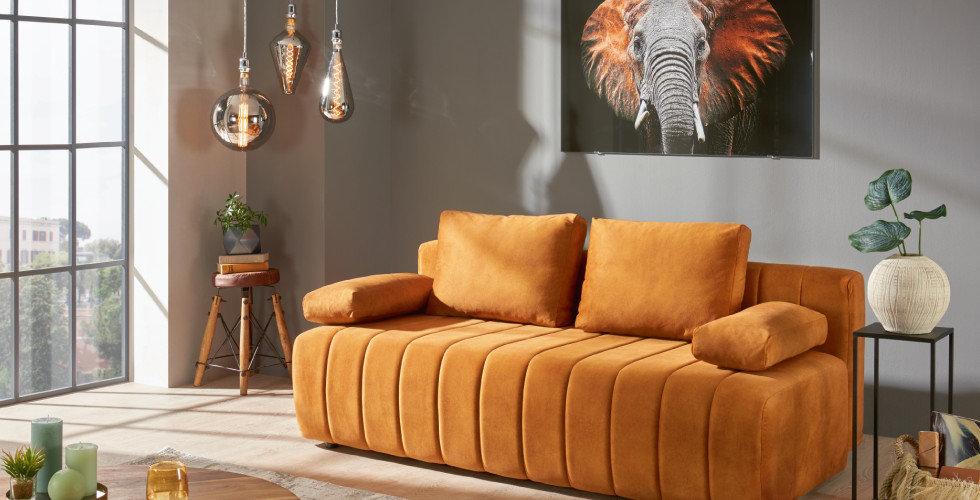 Safari Style Ocker Orange Couch Wohnzimmer Elefant Grau