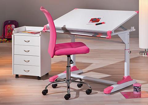 Schreibtisch und Schreibtischstuhl in pink