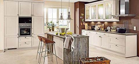 Landhausküche Weiß Modern Kücheninsel
