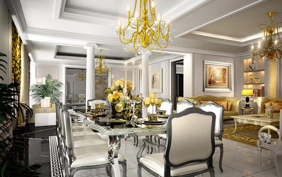 Odprt dnevni prostor, opremljen v Versace stilu