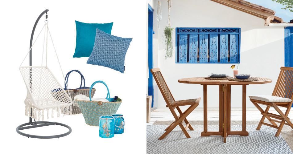 Balkonmöbel in mediterranem Flair in blau und weiß