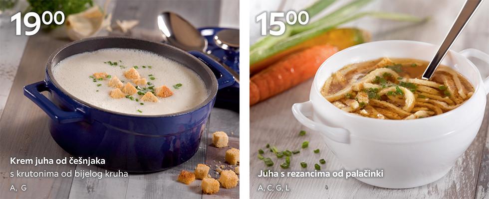 Krem juha od češnjaka i juha s rezancima od palačinki