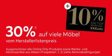 30% auf viele Möbel  vom Herstellerlistenpreis
