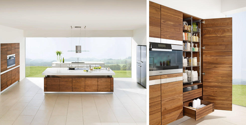 Holzküchen mit verstellbarer Arbeitsplatte