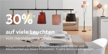 30% auf viele Leuchten vom Herstellerlistenpreis