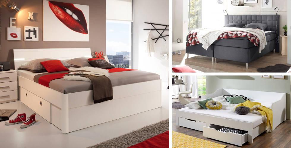 Bijeli drveni, bijeli s ladicama i sivi Boxspring krevet