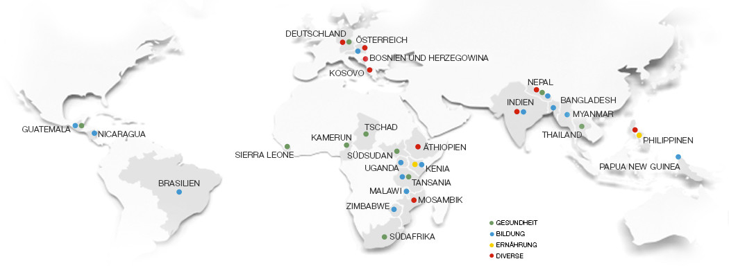 Weltkarte Hilfsprojekte