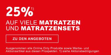 25% auf viele Matratzen  und Matratzensets