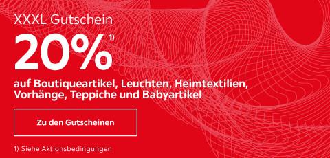 20% auf Boutiqueartikel, Leuchten, Heimtextilien, Vorhänge, Teppiche und Babyartikel