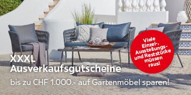 XXXL Ausverkaufsgutscheine Bis zu CHF 1000.- auf Gartenmöbel sparen!