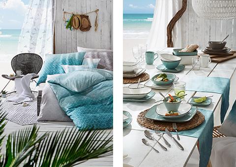 Bettwäsche und Tischdeko in Sommerlichen Blautönen